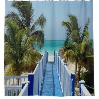 Boardwalk To Beach Palm Tree Shower Curtain シャワーカーテン