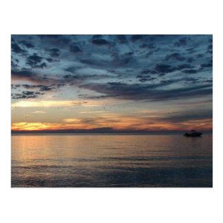 Boat at  Sunset on the Ocean Postcard ポストカード