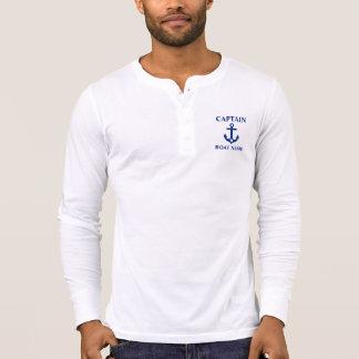 Boat Name Anchor Star Henley航海のな大尉 Tシャツ