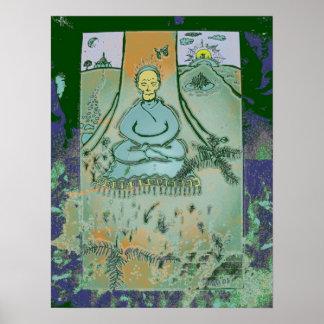 Bodhiの木のプリントの下でめい想している仏 ポスター