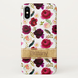 Bohemian Floral, Feathers Case-Mate iPhone X Case