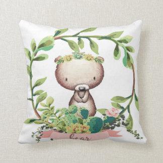 Bohoくまのベビーの子供部屋のサボテンのSucculentの枕 クッション