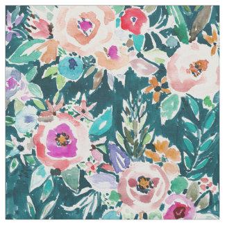 Bohoのあふれるばかりの花のはっきりしたでカラフルな水彩画 ファブリック