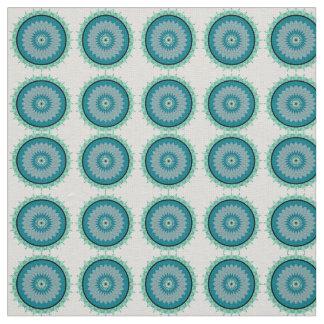 Bohoのカルマの車輪の水の青いリネンインドの生地 ファブリック