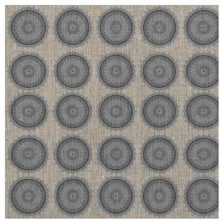 Bohoのカルマの車輪の灰色及びリネンボヘミアの生地 ファブリック