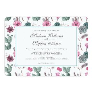 Bohoのサボテン、Succulent及び花柄-結婚式 カード
