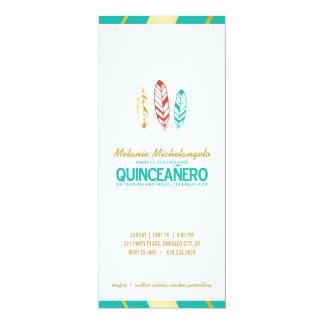 bohoのシックなティール(緑がかった色) QUINCEAÑEROの招待の英語1 カード