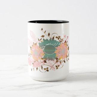 Bohoのシックなパステル調のヒマワリのつる植物 ツートーンマグカップ