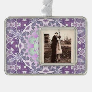 Bohoのシックなボヘミアの薄紫の紫色の曼荼羅 シルバープレートフレームオーナメント