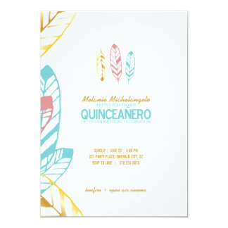 bohoのシックな水QUINCEAÑEROの招待の英語2 カード