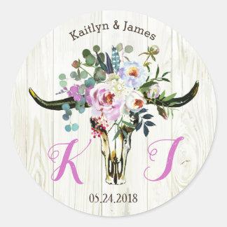 Bohoのシックな長角牛のスカルの花の結婚式のラベル ラウンドシール