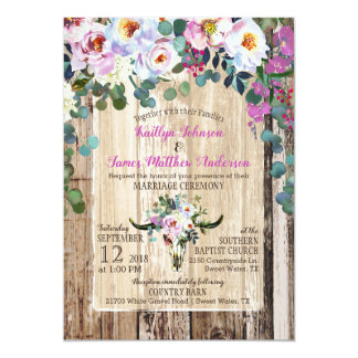 Bohoのシックな長角牛牛スカルの花の結婚式 カード