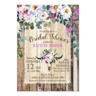 Bohoのシックな長角牛牛スカルの花柄のブライダルシャワー カード