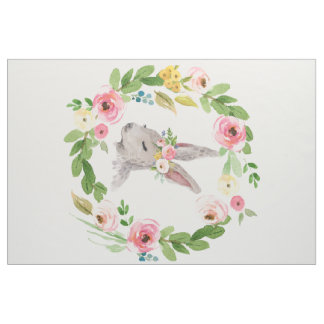 Bohoのバニーウサギの森林花の子供部屋の生地 ファブリック