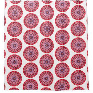 Bohoのピンクおよび赤い円形の曼荼羅(Lgのプリント) シャワーカーテン