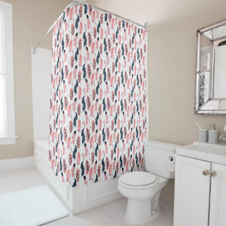 Bohoのピンクの羽のシャワー・カーテン シャワーカーテン