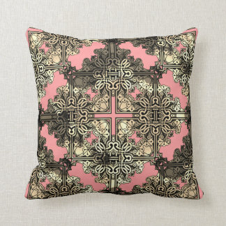 Bohoのピンクの花のボヘミアのケルト結び目模様 クッション