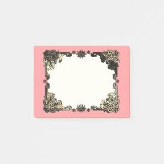 Bohoのピンクの花のボヘミアのケルト結び目模様 ポストイット