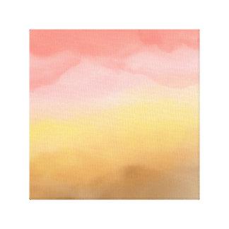 Bohoのピンクの茶色のグラデーションな水彩画の砂漠の抽象芸術 キャンバスプリント