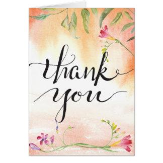 Bohoのフリージアのピンクの破裂音の書道の感謝 ノートカード