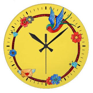 Bohoのブルーバードの柱時計 ラージ壁時計