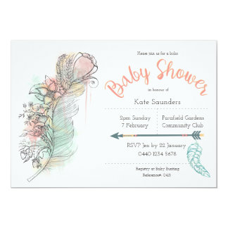 Bohoのベビーシャワーの花の羽の手描きの招待 カード