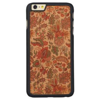 Bohoのペイズリーの花の木製のiPhoneの場合 CarvedチェリーiPhone 6 Plusスリムケース