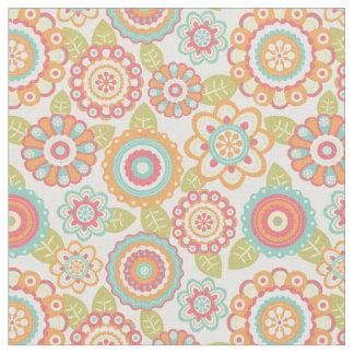 Bohoのレトロのファンキーな花の花パターン(クリーム) ファブリック