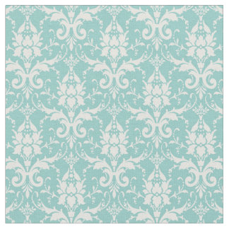 Bohoのヴィンテージの緑の白い花のエレガントなダマスク織 ファブリック