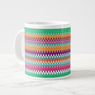 Bohoの夏のジグザグ形 ジャンボコーヒーマグカップ