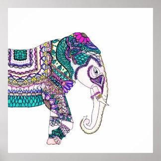 Bohoの明るい水彩画の種族のhenna象 ポスター