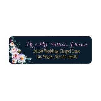 Bohoの水彩画のシャクヤクの花花束の結婚式のラベル ラベル