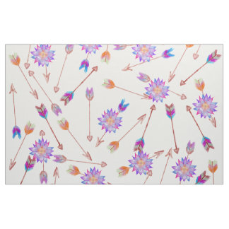 Bohoの水彩画の手塗りの花および矢 ファブリック