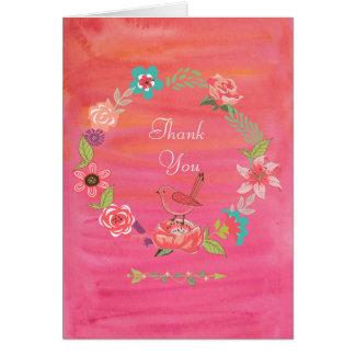 Bohoの水彩画の花のリースの小さい鳥の感謝 カード