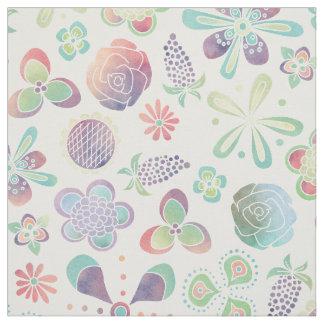 Bohoの水彩画の花柄の生地 ファブリック