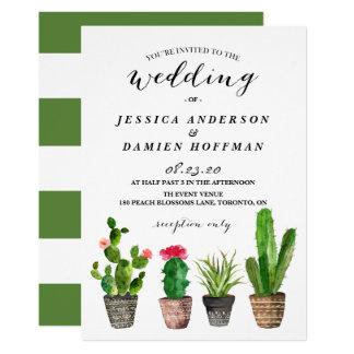 Bohoの水彩画のSucculentsの結婚式招待状IV 12.7 X 17.8 インビテーションカード