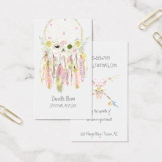 Bohoの種族の夢のキャッチャーの矢の羽の花 名刺