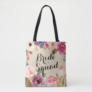 Bohoの素朴な水彩画によっては花嫁の分隊が開花します トートバッグ