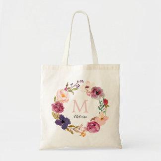 Bohoの素朴な水彩画の花のリースのモノグラム トートバッグ