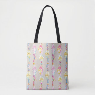 Bohoの羽およびビーズの水彩画の芸術のバッグ トートバッグ