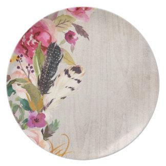 Bohoの羽および花 プレート