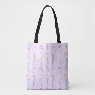 Bohoの羽のビーズの紫色の水彩画の芸術のバッグ トートバッグ