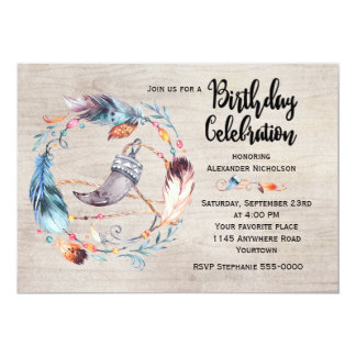 Bohoの羽のリースの大人の誕生日 カード