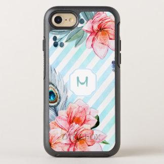 Bohoの羽の水彩画のストライプの花柄 オッターボックスシンメトリーiPhone 8/7 ケース