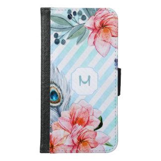 Bohoの羽の水彩画のストライプの花柄 Galaxy S6 ウォレットケース
