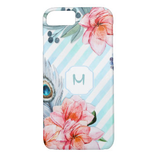 Bohoの羽の水彩画のストライプの花柄 iPhone 8/7ケース