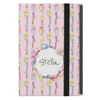 Bohoの羽の水彩画の芸術の名前のピンクの場合 iPad Mini ケース