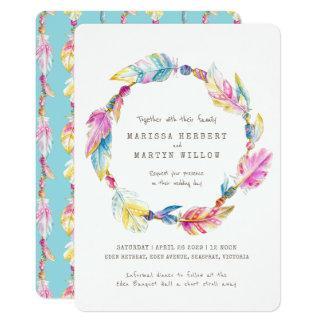 Bohoの羽は水彩画の結婚式の招待に玉を付けます カード