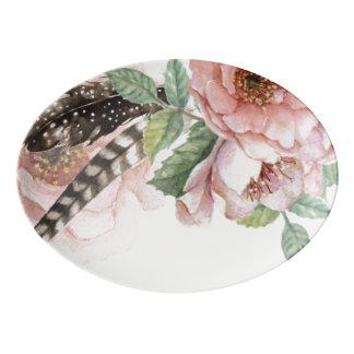 Bohoの花および羽 磁器大皿
