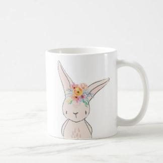 Bohoの花のバニーウサギのコーヒーカップのマグ コーヒーマグカップ